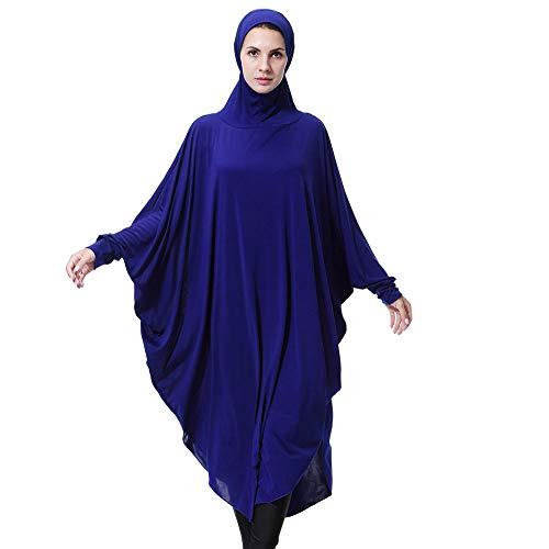 Lazzboy Muslim Daily Feste Langarm Lange Vintage Kleider Khimar Mit Niqab Option - Langer Hijab Integriertem Haarband Hält Praktisches Kopftuch Für Muslimische Frauen(Blau,XL)