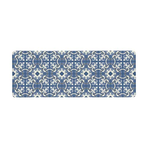 InterestPrint Soft Extra Extended Large Gaming Mouse Pad with Stitched Edges, Desk Pad Keyboard Mat, Non-Slip Base for Office & Home, 31.5 x 12In - Dark Blue and White Moroccan Tiles