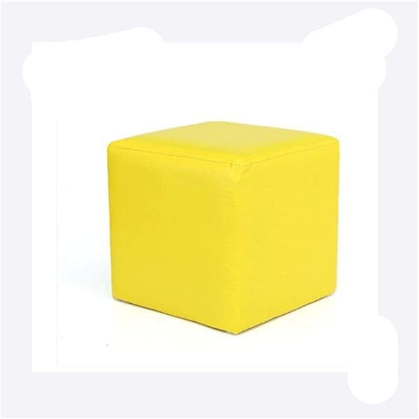 Carl Artbay Wooden Footstool Square Yellow Square Leather Stool Home Changing His Shoes Stool Home