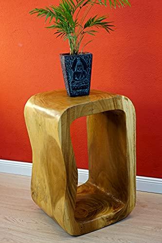 Mesa auxiliar de madera de acacia, mesa de flores de madera de suar, 60 cm, taburete para plantas