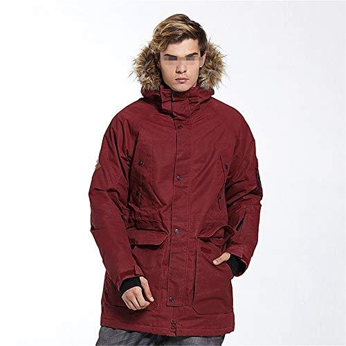 BGROESTWB Chaqueta de esquí impermeable para hombre, resistente al viento, chaqueta de invierno gruesa (color: rojo azufaifo, talla: S)