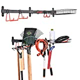 PLKOW Garden Tool Organizer Wall Mount Garden Tool Rack with Adjustable Storage Hooks and Basket, Garage Tool Organizer for Bike, Shovels, Rakes and More, Powder Coated Steel