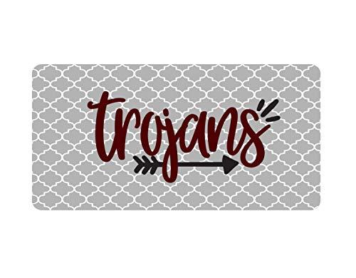 Fhdang Decor Trojans Auto Tag, Trojaanse paarden License Plate, Quatrefoil Auto Tag, 6