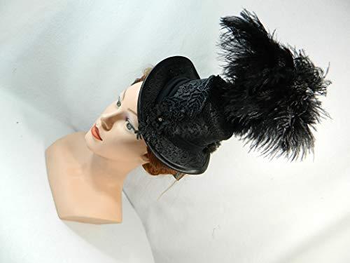 Midi Damen Zylinder schwarz Jacquard Straussen Federn Hut Damenhut Anlass-Hut