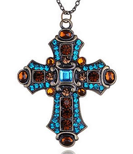 Religion Chrétienne - blondeau-bijoux.com Großes Kreuz mit mittelalterlichen Kristallen und Kette 2