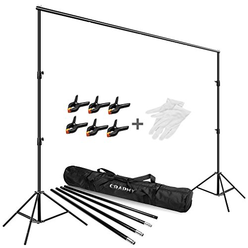 CRAPHY Studio Portable Background Support System 2x3 Meters, Photography Backdrop Stand Kit with Adjustable 80-200cm Light Stand, 6 Clips, Gloves and Carrying Case for Photo Studio Photography