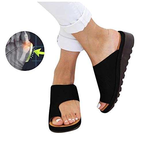 Sandales Plates Femmes Confortables Orthopedique Chaussures Plateforme - 2020 Newest Été Sandales Femmes Sandales Plates Toe T-Sangle Comfy Semi Trailer Sandales Chaussures de Plage (Style F, 39)