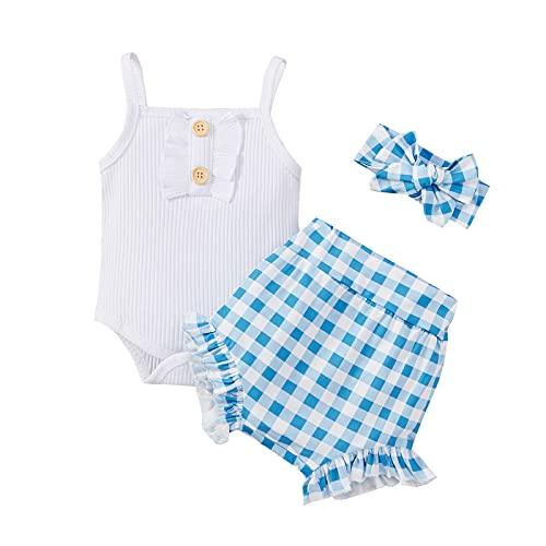 Conjunto de Ropa de Bebé Niña Sin Manga Mameluco con Volantes Mono Body + Pantalones Floral + Venda Recién Nacido Niñas Trajes