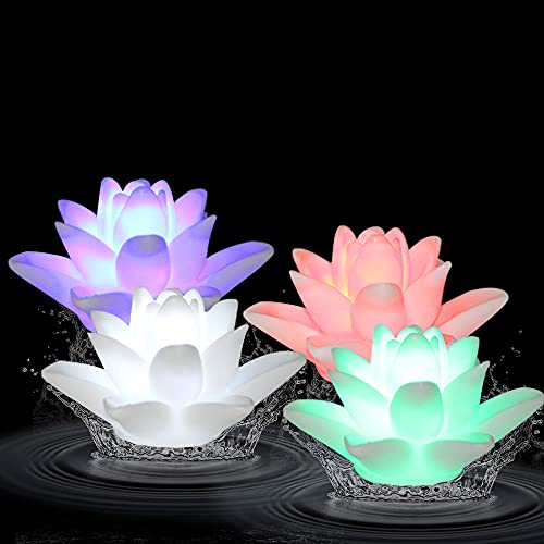 ARDUX LED Floating Candle Lights Lily-Shape Color Changing Waterproof Night Light Battery-Powered Flameless Floating Flower Light (Pack of 4)