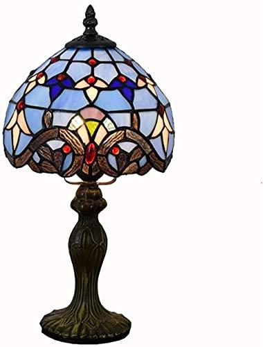 Lámpara de mesa de estilo Tiffany 20CM Azul barroco Mar Mediterráneo Creativo Tiffany Vitral Bar Lámpara de mesa Sala de estar Comedor Dormitorio Lámpara de mesita de noche