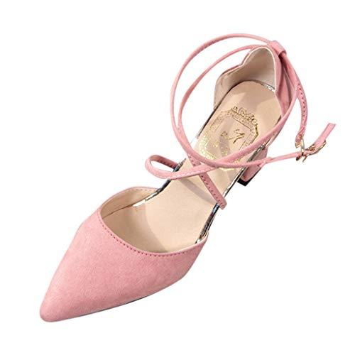 Moda Casual para Mujer Punta Estrecha tacón Cuadrado Zapatos de Boda Sandalias de tacón Alto