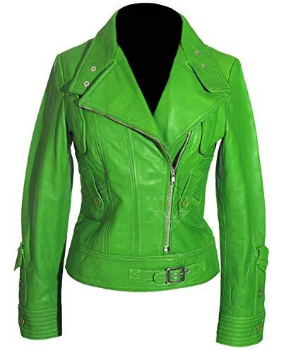Tara - Giacca corta da donna, stile militare, doppiopetto, in vera pelle di agnello lavata, in stile militare, colore: Verde lime Verde lime 54
