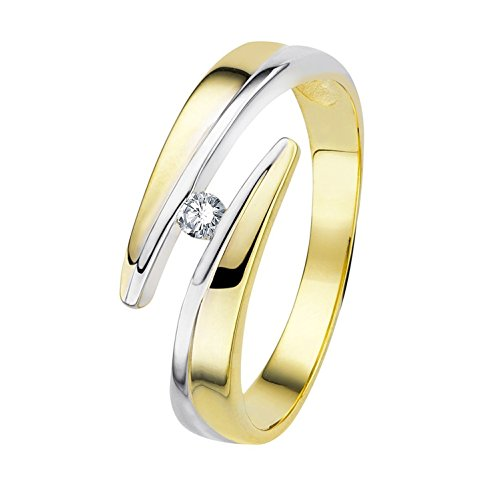 Diamond Line Diamant-Ring Damen Gold mit 1 Brillianten, Diamantring Lupenrein