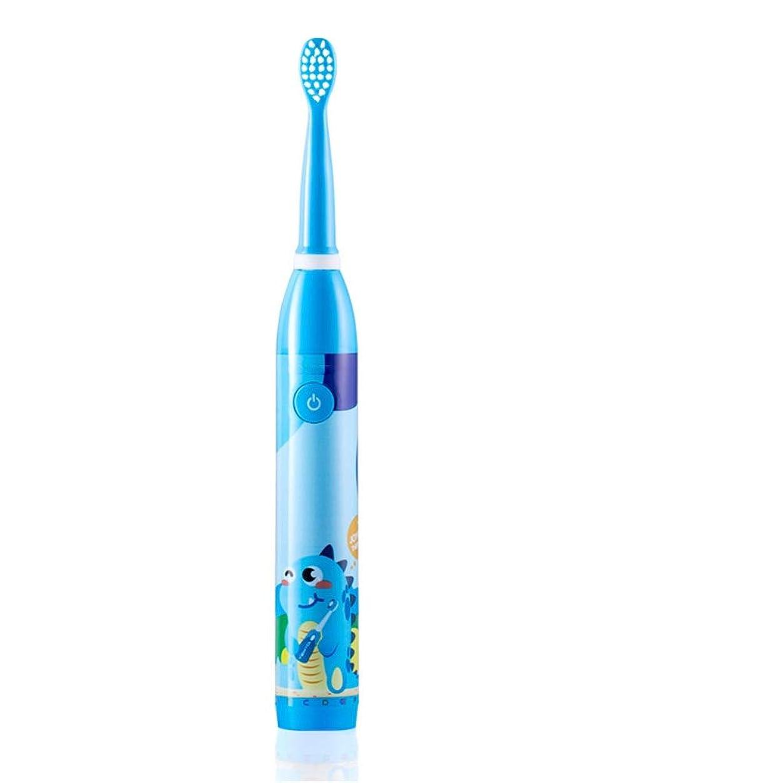 軍艦大西洋楕円形電動歯ブラシ 子供のために適した子供の電動歯ブラシUSB充電式防水歯ブラシ2-5 ケアー プロテクトクリーン (色 : 青, サイズ : Free size)