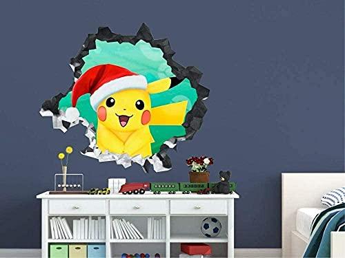 Arte de la etiqueta engomada de la pared 3D de la etiqueta de la pared de encargo de la Navidad del personaje de anime mural cartel papel tapiz 80x120CM