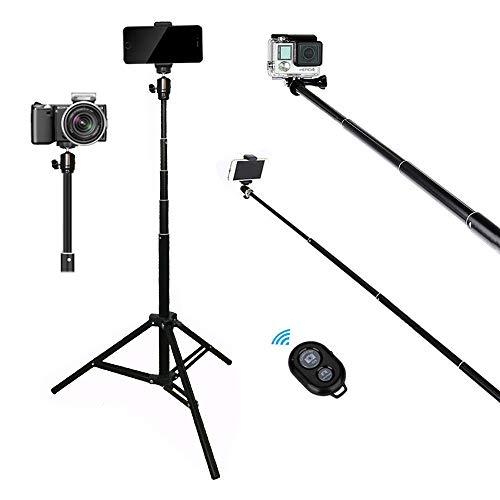 Tencro - Bastone telescopico per selfie con treppiede, supporto per telefono e telecomando, 45-165 cm, per iPhone Xs Max X 8 Plus, Galaxy S10 Plus S10 S9, GoPro e fotocamere compatte ecc.