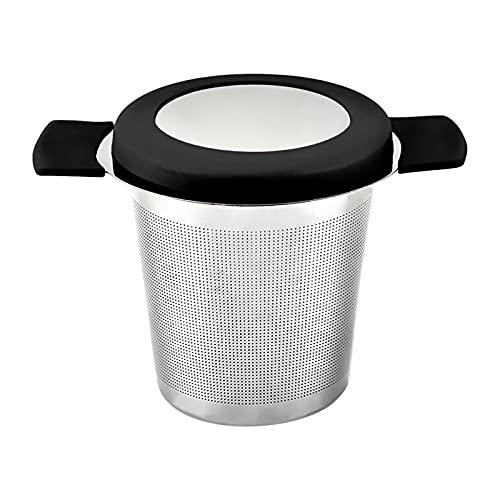 AUTUUCKEE Gran capacidad de filtro de té de acero inoxidable hojas sueltas de malla fina teteras de cocina (negro)