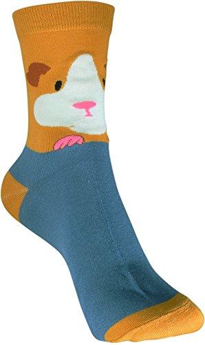 Pealu 1 Paar Atmungsaktive Damen Socken in Größe 33-40 Motivsocken Meerschweinchen-Blau Strümpfe Tennissocken Freizeitsocken cotton FARB AUSWAHL (Meerschweinchen Blau)