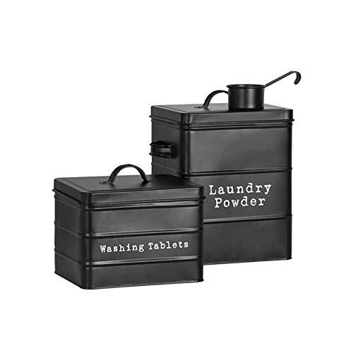 Harbour Housewares 2 x Vintage métal Lavage de Stockage en Poudre et tablettes Tins - Stockage - Utilitaire Bidons cm - Noir