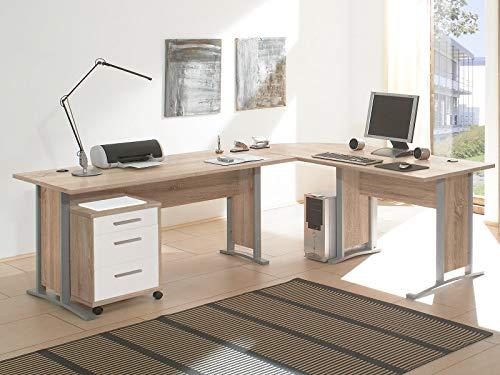 möbelando Schreibtisch-Kombination Winkelschreibtisch Bürotisch Arbeitstisch Clermont I Sonoma-Eiche/Weiß