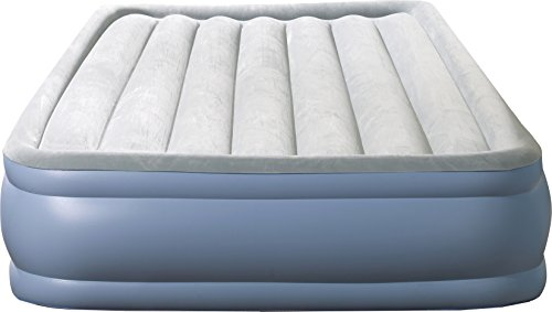 Simmons Beautyrest Hi-Loft Inflatable Air Mattress: Raised-Profile Air Bed with External Pump, Queen, Blue