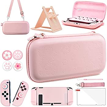 OLDZHU Pink Travel Carrying Case Accessories Kit Compatible With Nintendo Switch - 10 in 1 Essential Protection Kits with Hard Protective Cover,Glass Screen Protector,Adjustable Stand,Thumb Grip Caps