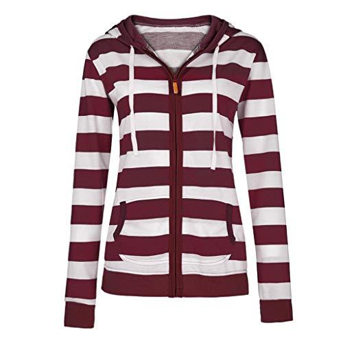 HULKY Pullover Damen Herbst Winter Hoodie Swearshirt Streifen Patchwork Kapuzenpullover mit Reißverschluss Sport Slim Dünnen Mantel Jacke(Wein,L)
