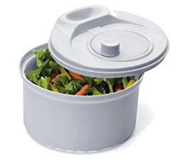 Image: Prepworks by Progressive Flow Through Salad Spinner | Unique design lets water flow through lid opening | drains through the base | Easy to wash and dry in one easy step