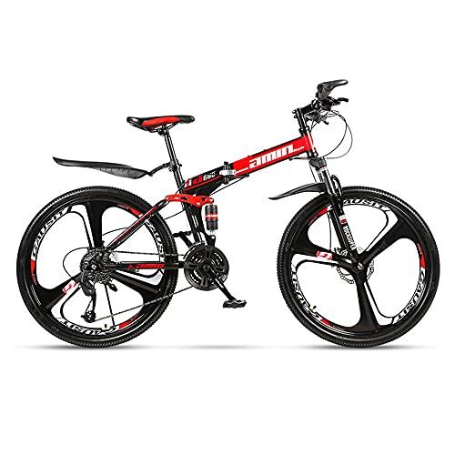 XUDAN Bicicletta Mountain Bike,24/26 Pollici Mountain Bike 21/24/27/30 Regolazione della velocità Variabile Pieghevole Full Suspension Doppio Freno Disco Bici Strada Cross-Country Unisex