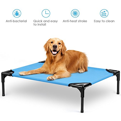 amzdeal Chewproof Dog Cot - Elevated Dog Bed Detachable Washable Cat Bed Puppy Beds, Oxford Fabric, Stainless Steel Frames, Sturdy and Strong, for All Season, Blue