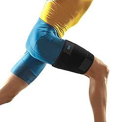 Oberschenkelbandage Kompression, Oberschenkel Bandage Muskelfaserriss mit Klettverschluss Neopren Verstellbar Kompressions-Ärmel für Oberschenkel und Ischiasnerven Schmerzlinderung, Rehabilitation