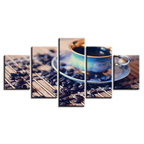 MCZQT frame Hd gedrukt canvas 5 panelen koffie en mok schilderijen muurkunst modulaire poster afbeelding huis decoratie 30x40cmx2 30x60cmx2 30x80cmx1