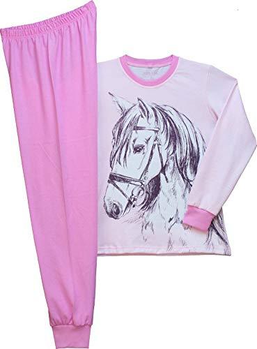 Pampress Mädchen Langarm Schlafanzug mit Pferde Motiv (rosa, 128-134)