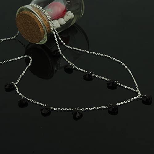 yuese Cadena para el pelo de novia de cristal con diseño elegante de cadena para el pelo (color metálico: Fd064 negro)