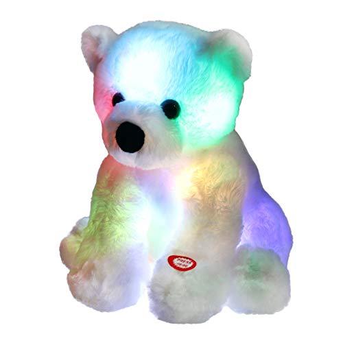 Bstaofy Glow Polar Bear LED Stuffed Animals Night Light Soft Plush Adorable Floppy Toy Gift for Kids on Christmas Birthday Festival Occasions, 9.5