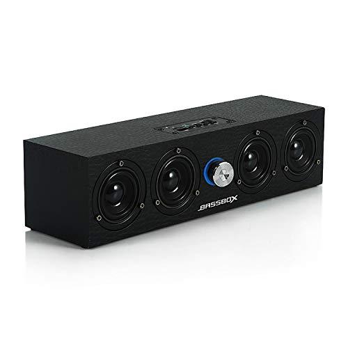 Bluetooth pc スピーカー 12w 黒木 木製 USB LED 軽量 ステレオ サウンド 高音質 高互換性 パソコン タブレット 携帯 ゲーム機などに対応 ブルートゥース bluetooth 日本語取り扱い説明書付き (ブラック)