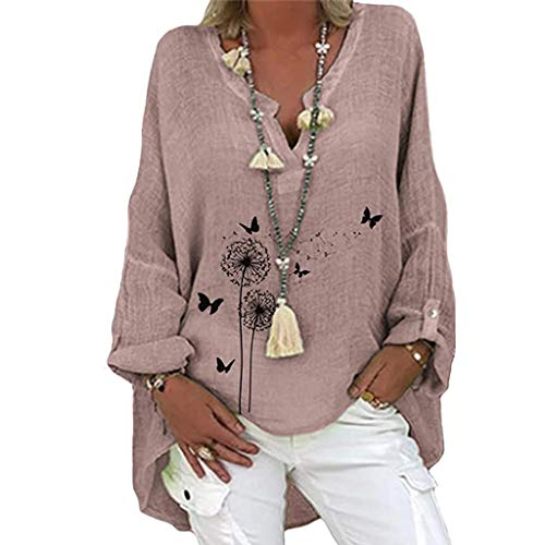 Meikosks Womens Floral Print Blouse Top Plus Size Long Sleeve T Shirt Cotton and Linen Tunic Pink