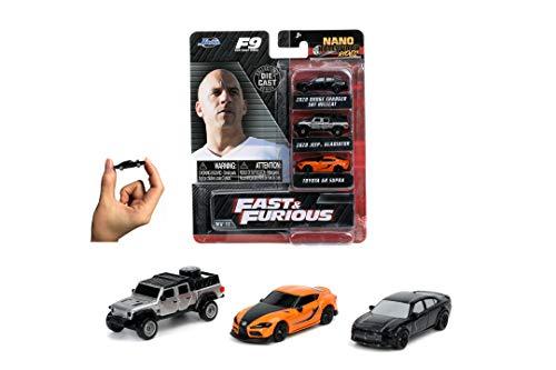 Jada Toys 253201003 Fast & Furious 3er Set C Nano Sammelautos, Jeep Gladiator, 2019 Dodge Charger SRT Hellcat-Widebody, 2020 Toyota Supra, 4 cm, ab 3 Jahren