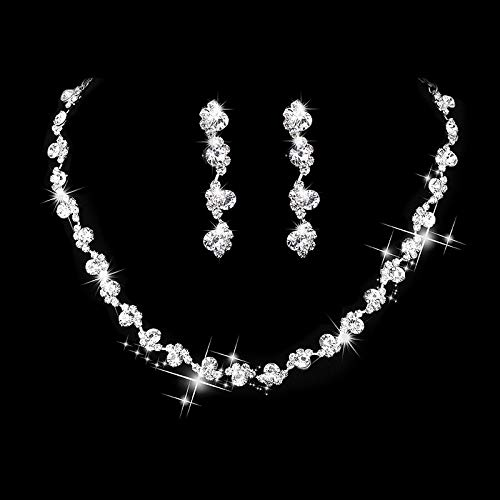 Unicra Bride Silver Necklace Earrings Set Crystal Bridal Wedding Jewelry Set Rhinestone Choker Necklace for Women and Girls (3 piece set - 2 earrings and 1 necklace)(Silver)