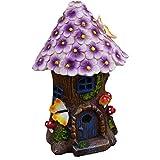 Hada del jardín Casa con tejado Floral púrpura y Resina Luz Solar de la Seta del LED al Aire Libre de la Estatua por Yard Decor (8,3 Pulgada de Alto)