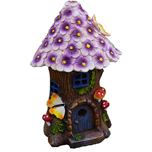 TongN Outdoors Statues Fairy Garden House with Purple Floral Roof and Solar LED Light Resin Mushroom Statue for Outdoor Yard Decor (8.3 Inch Tall)