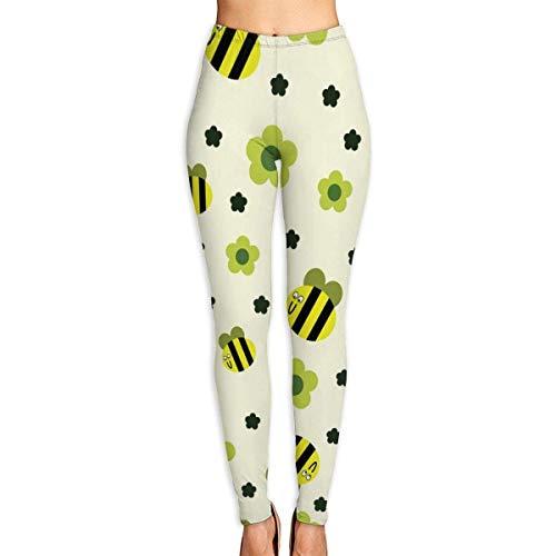 AAAshorts Funny Bee with Flower - Pantalones de yoga impresos para mujer, cintura alta, leggings de entrenamiento