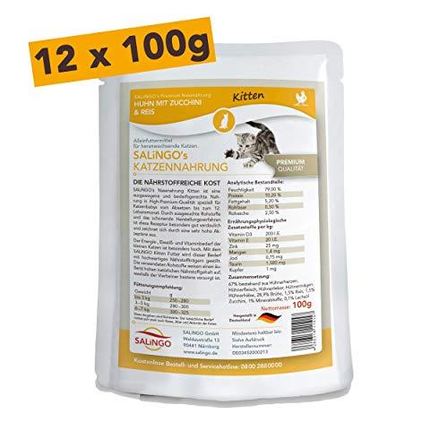 SALiNGO Katzenfutter nass, Kitten, Huhn mit Zucchini und Reis (12x100g)