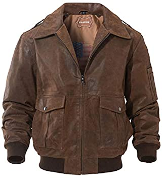 FLAVOR Men s Leather Flight Jacket Bomber Air Force Aviator  Brown Medium