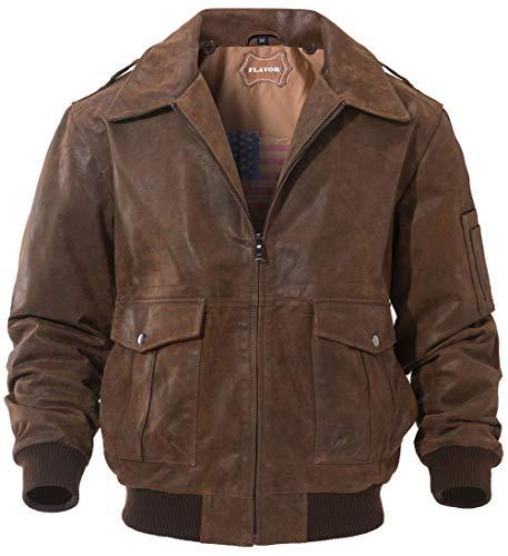 FLAVOR Men's Leather Flight Jacket Bomber Air Force Aviator (Brown, Medium)
