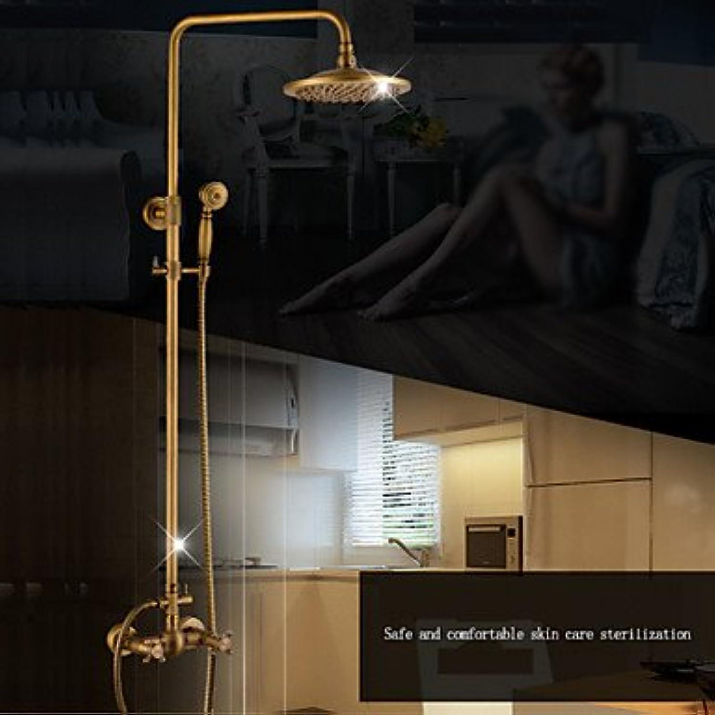 HONGHUIYU Shower Faucet - Contemporary Chrome Centerset Ceramic Valve Brass Two Handles Two Holes