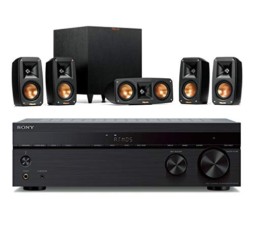 Klipsch Reference Theater Pack 5.1 Surround System Bundle with Sony STR-DH790 7.2-Channel AV Receiver (4K HDR, Dolby Vision, Dolby Atmos, DTS:X, with Bluetooth) - Black