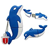 Cartoon 32GB USB2.0 Flash Drive Cute Blue Dolphin Flash Memory Disk Data Storage Thumb Stick