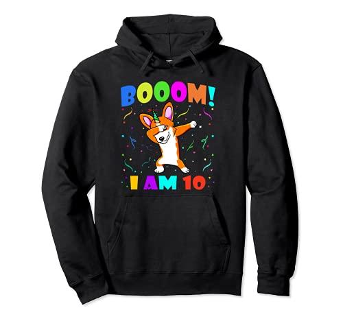 Dabbing Corgicorn - Booom! I Am 10 Boys Girls 10th Birthday Pullover Hoodie