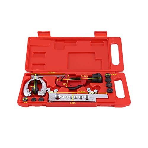 Qiilu Abocinador Abocardador para tubos de frenos de cobre rígidos con maletín moldeado Juego de 10 piezas